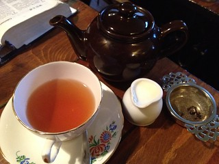Earl grey tea in vintage china, Vennels Café, Durham