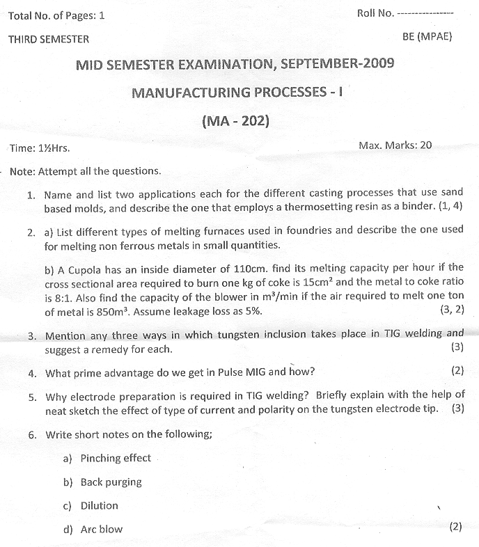NSIT: Question Papers 2009 – 3 Semester - Mid Sem - MA-202