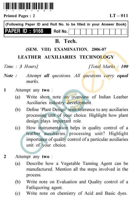UPTU B.Tech Question Papers -LT-011 - Leather Auxiliaries Technology