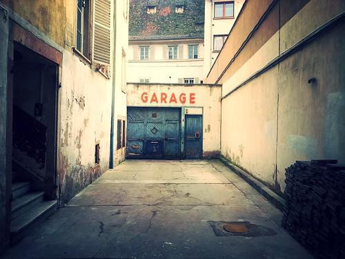 garage, signage, orange
