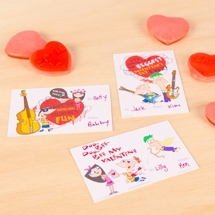 Phineas and Ferb Valentine's Cards
