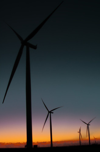 Iowa wind farm at dusk