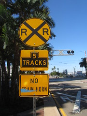 Rail Road Crossing Sign East Bound - 5 Tracks