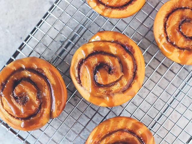 Sweet potato cinnamon rolls with boozy caramel glaze