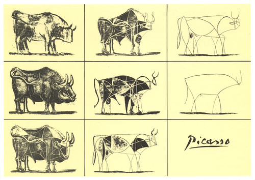 "PABLO PICASSO "" The Bull metamorphosis"""