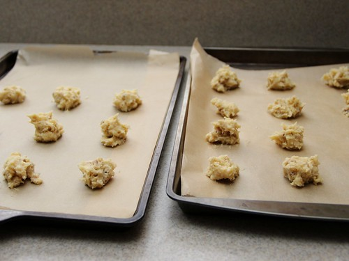 walnut cookie dough on trays