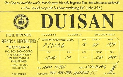 DU1SAN - F11556 - QSL - Philippines by Yannick BARBIER