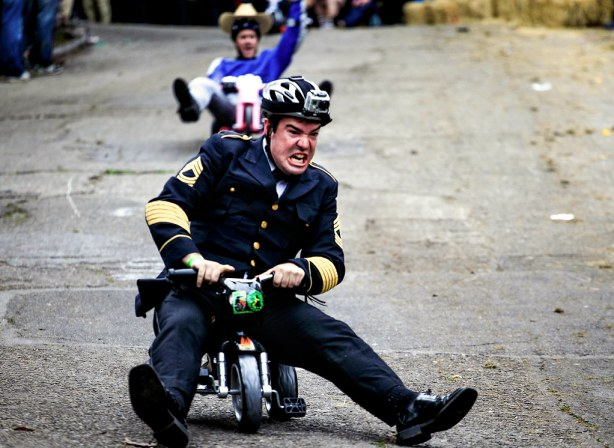 A man rides down Vermont Street during the annual Bring Your Own Big Wheel (BYOBW) 2013 event in San Francisco on March 31, 2013.  Photo by Mike Hendrickson/ Special to Xpress