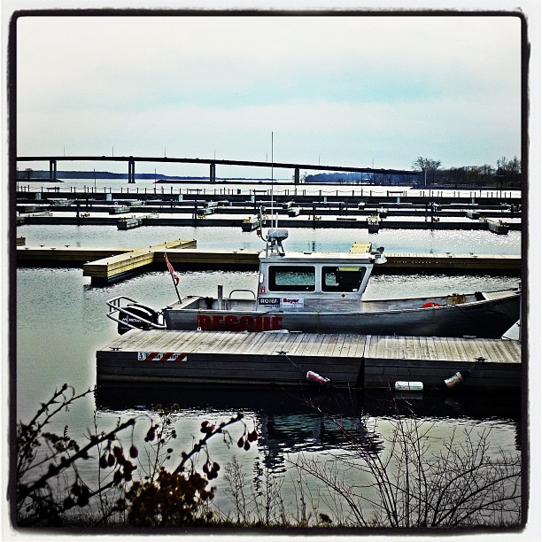 Apr 15 - alone {the Search & Rescue boat is ALONE in the harbour this early in the season} #fmsphotoaday #belleville #boat #harbour #bayofquinte
