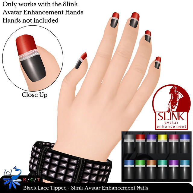 ZcZ Black Lace Tipped Slink AE Nails