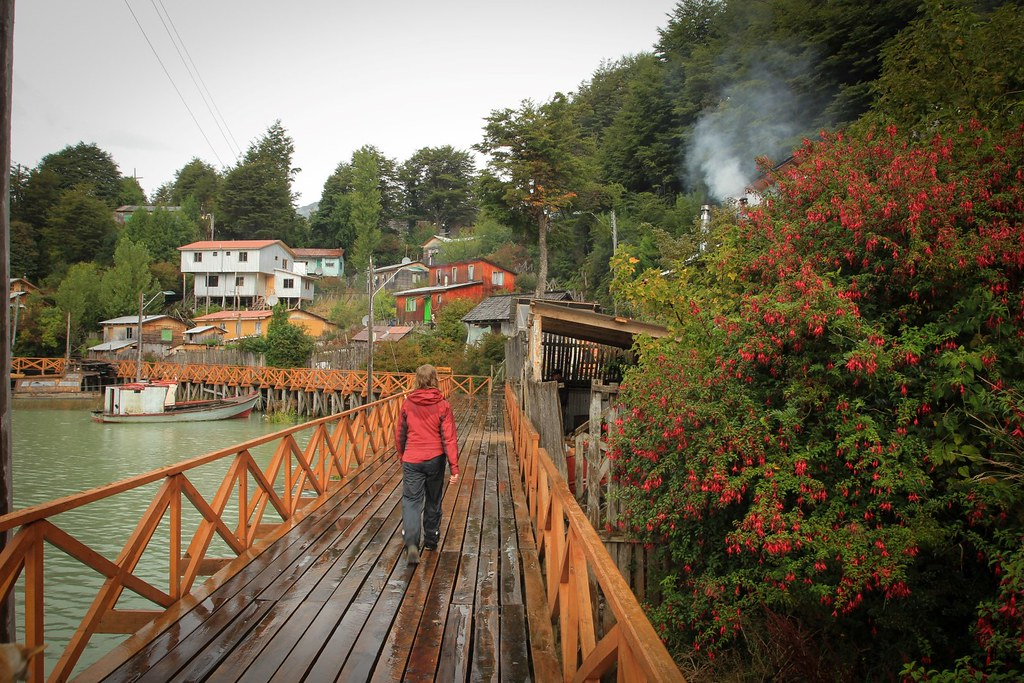 The boardwalks of sleepy fishing settlement Tortel. Aysen, Chile.