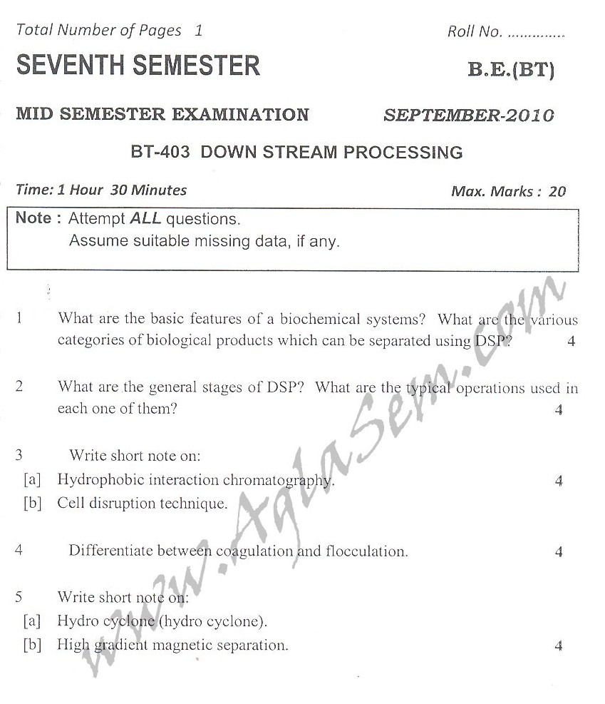 DTU Question Papers 2010 – 7 Semester - Mid Sem - BT-403