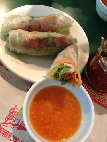 Rice paper rolls with grilled pork patties