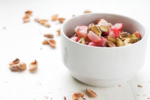 Roasted Radish, Dried Fruit and Pistachio Salad