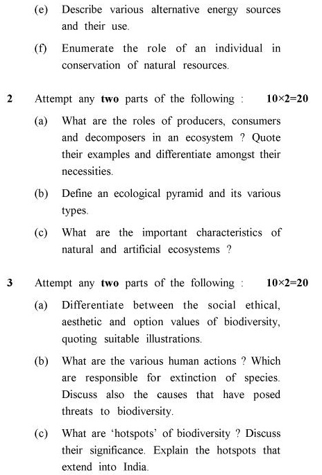 UPTU B.Pharm Question Papers TES-201 - Special Carryover Examination, 2006-2007 Environmental Studies