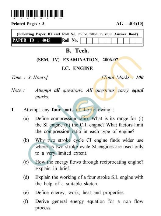 UPTU: B.Tech Question Papers - AG-401(O) - I.C. Engine