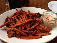 Vegan sweet potato fries and red pepper aioli