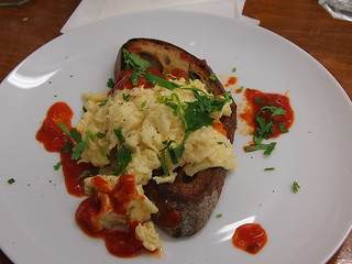 Scrambled eggs on Stirchley Mighty White with chilli sauce