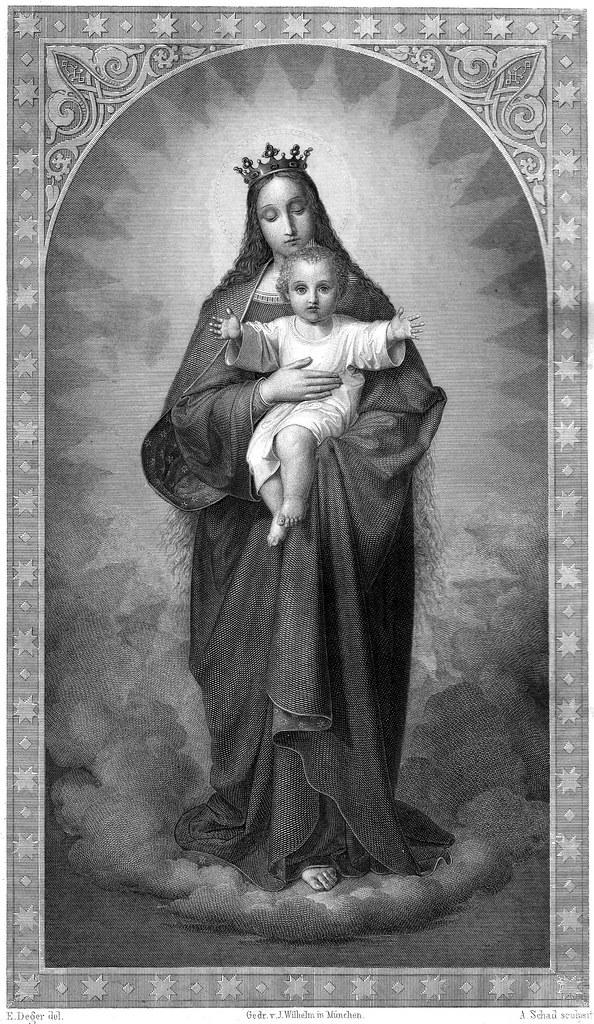 Madonna mit Jesuskind - Bild aus der Vulgata von Dr. Joseph Franz Allioli - 1830