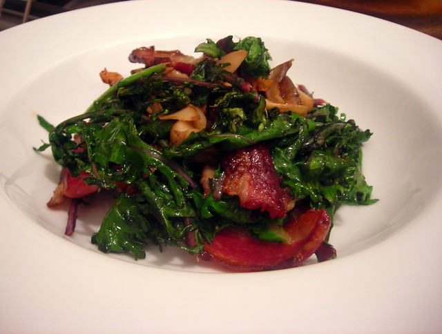 Smoked bacon, Red Russian kale