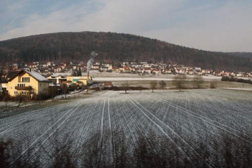Snow covered village of Neuendorf, Germany