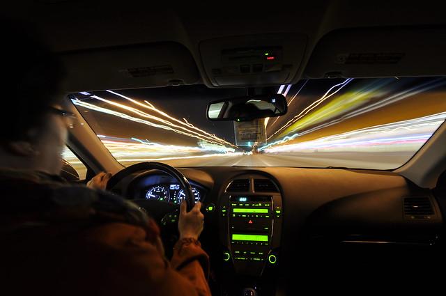 Inside the car light trails