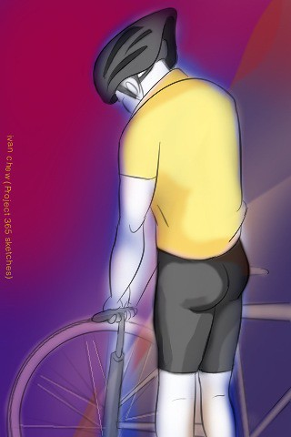 """""""Cyclist at the Pump"""" (#89: Project 365 Sketches)"""