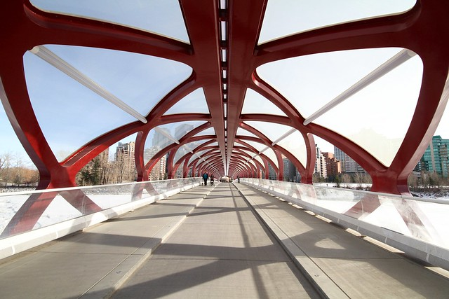 Strolling into town on the Peace Bridge across the Bow River in Calgary, designed by Santiago Calatrava