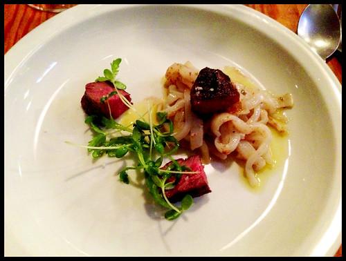 beef & firefly squid, sendres 7 flavor vinaigrette, farmers market vegetables