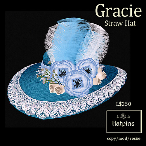 Hatpins - Gracie Straw Hat - Turquoise