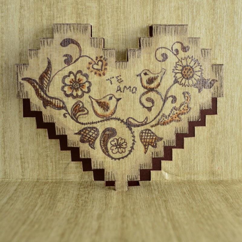 'woodburned' valentine card