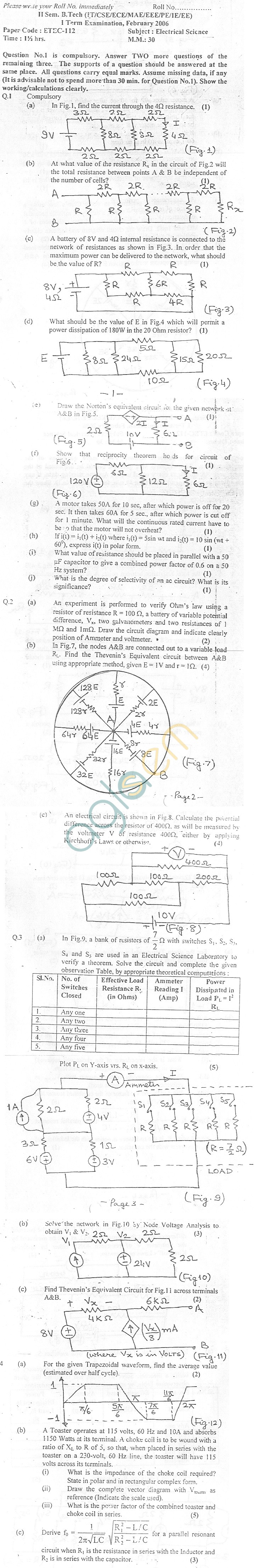 GGSIPU Question Papers Second Semester – First Term 2006 – ETEC-112