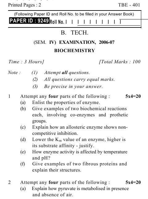 UPTU B.Tech Question Papers -TBE-401- Biochemistry