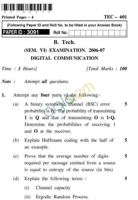 UPTU B.Tech Question Papers -TEC-601-Digital Communication