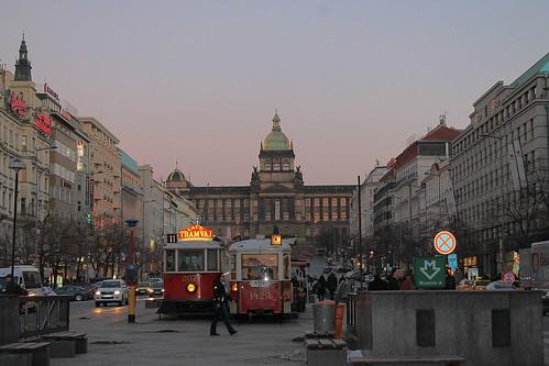 Café Tramvaj & Národní Muzeum at dusk