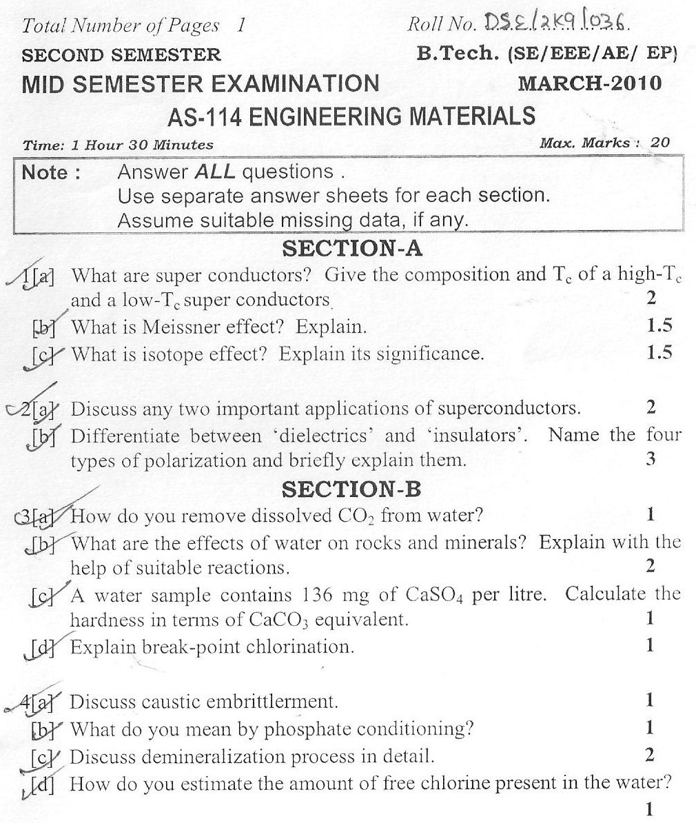DTU Question Papers 2010 – 2 Semester - Mid Sem - AS-114