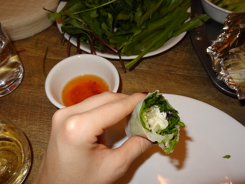 Grilled fish and herb rice paper roll
