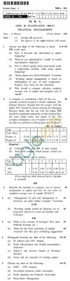 UPTU  MBA Question Papers - MBA-201-Financial Management