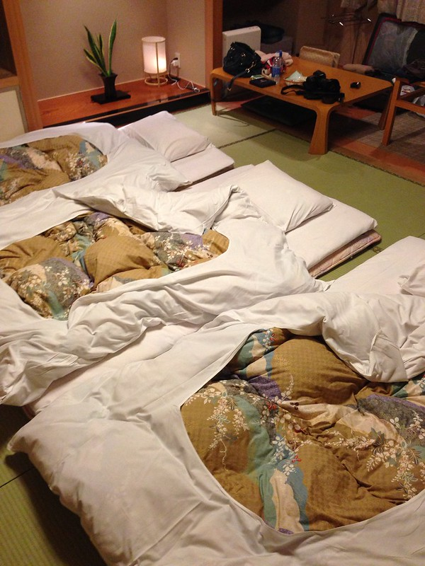Futon Beds in the Room after Turn-down Service
