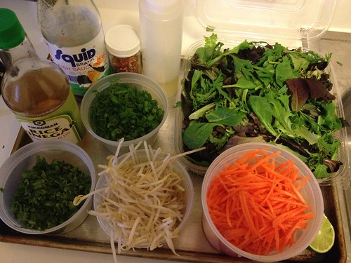 Steak salad mise en place