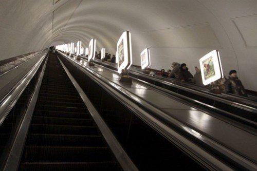 For the world's deepest Metro station, this escalator doesn't seem much longer than the other ones in Kiev...