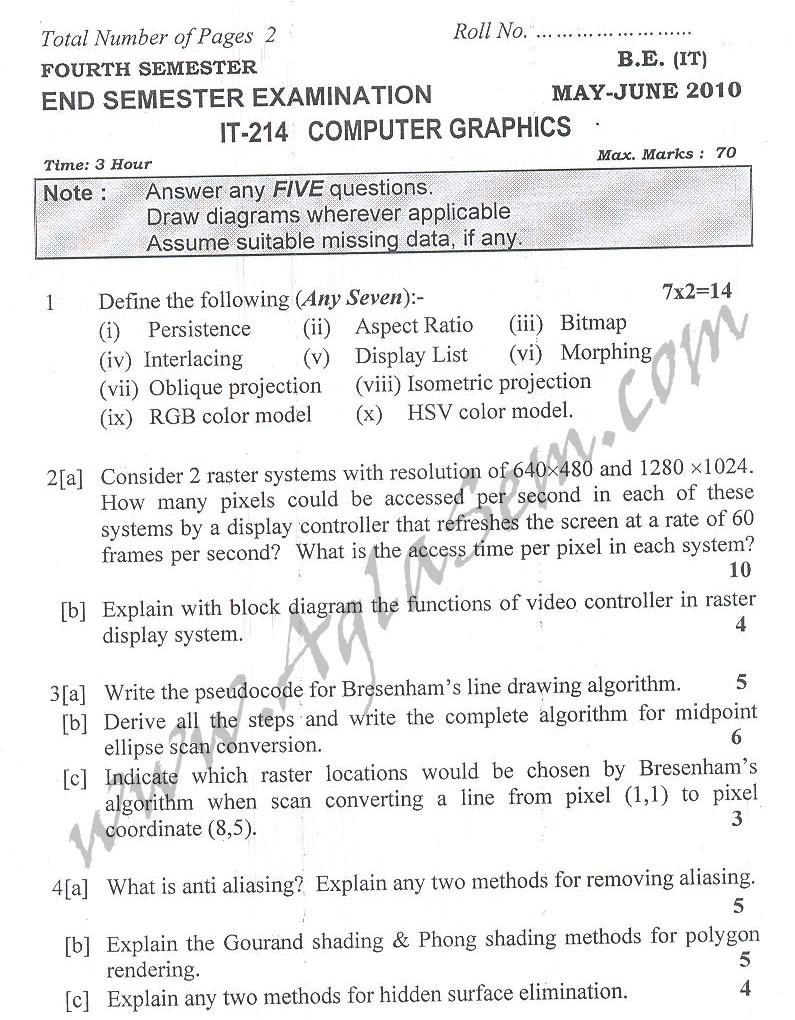 DTU Question Papers 2010 – 4 Semester - End Sem - IT-214