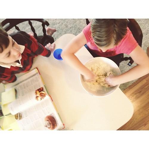She's making Chelsea Buns. #yeast #breadmaking #springbreak