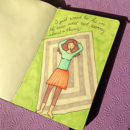 A page in my Moleskine sketchbook made with my new (and old) copic markers.