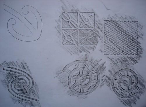 Tribal pencil rubbings and stencil