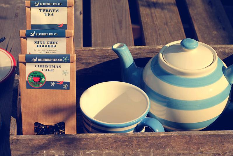 Bluebird tea and teapot