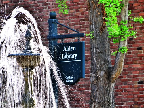 Park Place Fountain, Ginko, and Alden Library sign by volsinohio