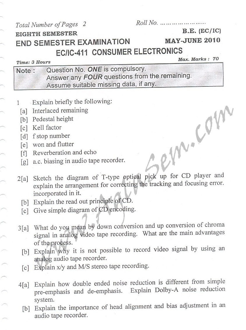 DTU Question Papers 2010 – 8 Semester - End Sem - EC-IC-411