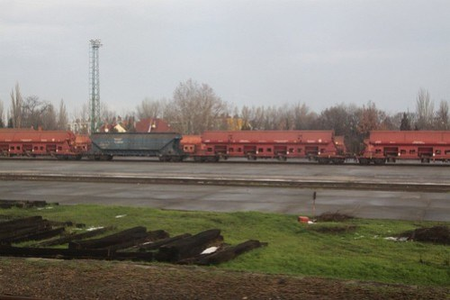 Hungarian hopper wagons stabled in the goods yard