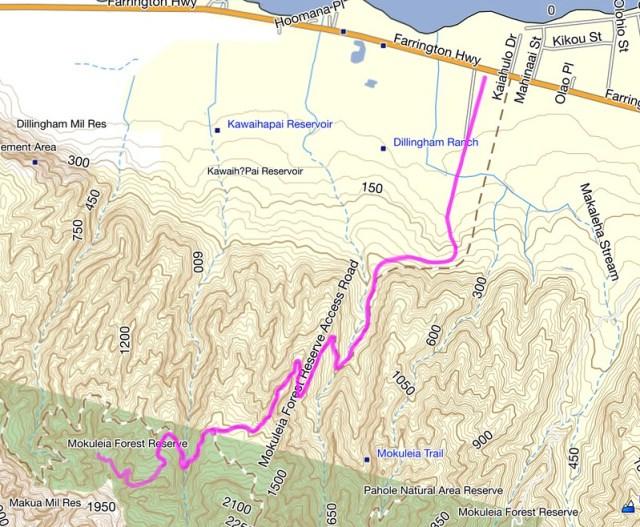 Moku'leia Access Road Topographic Map